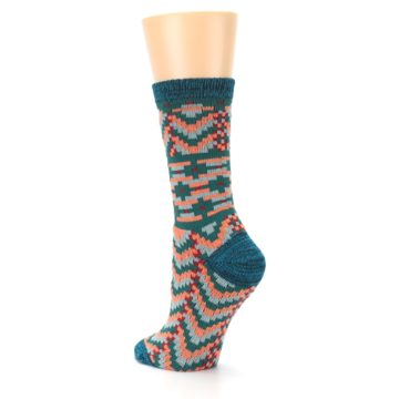 Image of Teal Coral Zig-Zag Patterned Women's Dress Socks (side-2-back-15)