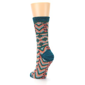 Image of Teal Coral Zig-Zag Patterned Women's Dress Socks (side-2-back-16)