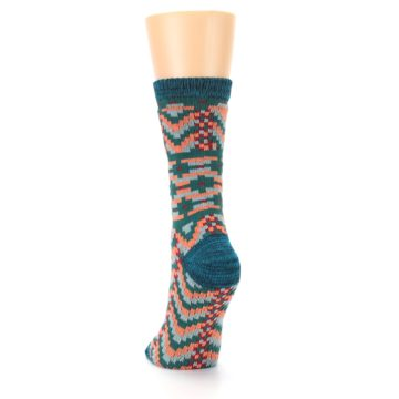 Image of Teal Coral Zig-Zag Patterned Women's Dress Socks (back-17)