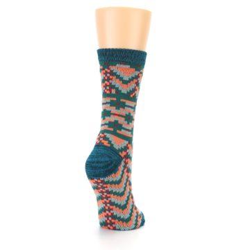 Image of Teal Coral Zig-Zag Patterned Women's Dress Socks (side-1-back-21)