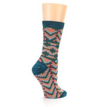 Image of Teal Coral Zig-Zag Patterned Women's Dress Socks (side-1-23)