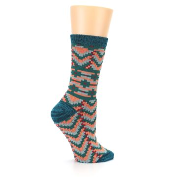 Image of Teal Coral Zig-Zag Patterned Women's Dress Socks (side-1-24)