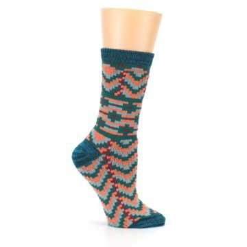 Image of Teal Coral Zig-Zag Patterned Women's Dress Socks (side-1-25)