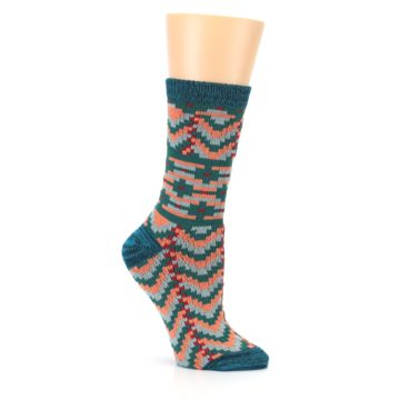 Image of Teal Coral Zig-Zag Patterned Women's Dress Socks (side-1-26)