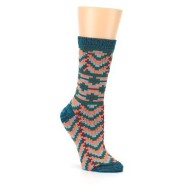 Image of Teal Coral Zig-Zag Patterned Women's Dress Socks (side-1-27)