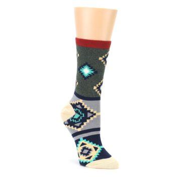 Green Blue Canary Diamond Pattern Womens Dress Socks Sock It Up