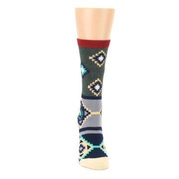 Image of Green Blue Canary Diamond Pattern Women's Dress Socks (front-04)