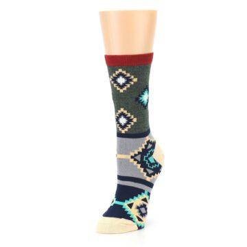 Image of Green Blue Canary Diamond Pattern Women's Dress Socks (side-2-front-08)