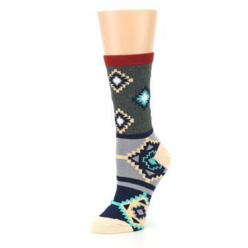 Image of Green Blue Canary Diamond Pattern Women's Dress Socks (side-2-09)