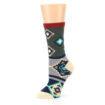 Image of Green Blue Canary Diamond Pattern Women's Dress Socks (side-2-10)
