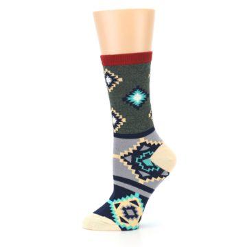Image of Green Blue Canary Diamond Pattern Women's Dress Socks (side-2-11)
