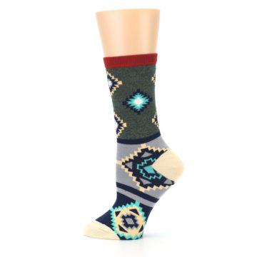 Image of Green Blue Canary Diamond Pattern Women's Dress Socks (side-2-12)