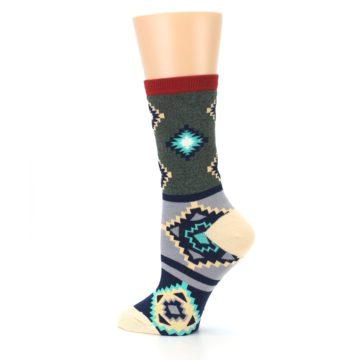 Image of Green Blue Canary Diamond Pattern Women's Dress Socks (side-2-13)