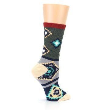 Image of Green Blue Canary Diamond Pattern Women's Dress Socks (side-1-24)