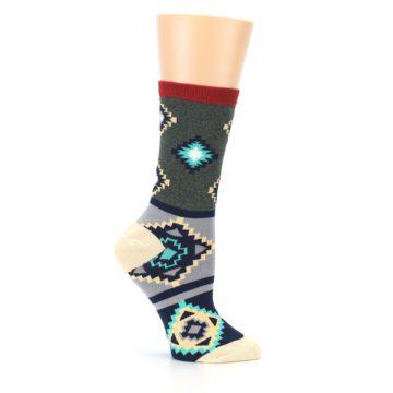 Image of Green Blue Canary Diamond Pattern Women's Dress Socks (side-1-25)