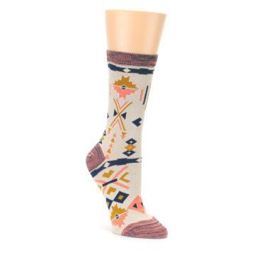 Image of Tan Coral Tribal Pattern Women's Dress Socks (side-1-front-01)