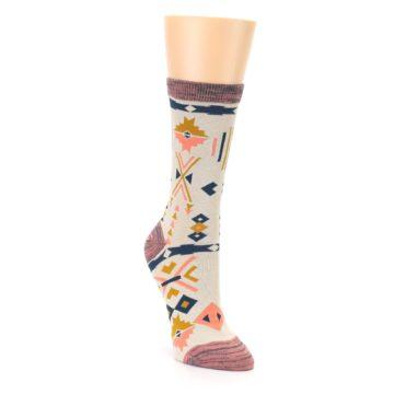 Image of Tan Coral Tribal Pattern Women's Dress Socks (side-1-front-02)