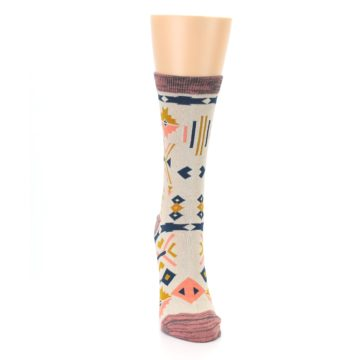 Image of Tan Coral Tribal Pattern Women's Dress Socks (front-04)
