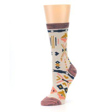 Image of Tan Coral Tribal Pattern Women's Dress Socks (side-2-09)