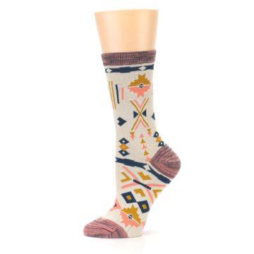 Image of Tan Coral Tribal Pattern Women's Dress Socks (side-2-11)