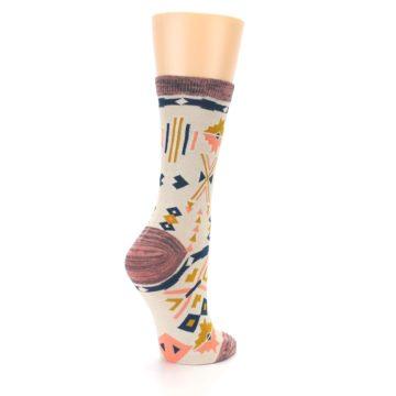 Image of Tan Coral Tribal Pattern Women's Dress Socks (side-1-back-22)