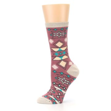 Image of Dusty Rose Diamonds Pyramid Women's Dress Socks (side-2-11)