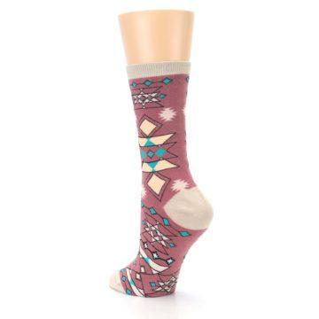 Image of Dusty Rose Diamonds Pyramid Women's Dress Socks (side-2-back-15)