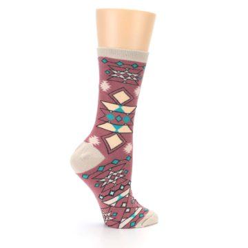 Image of Dusty Rose Diamonds Pyramid Women's Dress Socks (side-1-24)