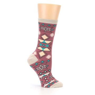Image of Dusty Rose Diamonds Pyramid Women's Dress Socks (side-1-25)
