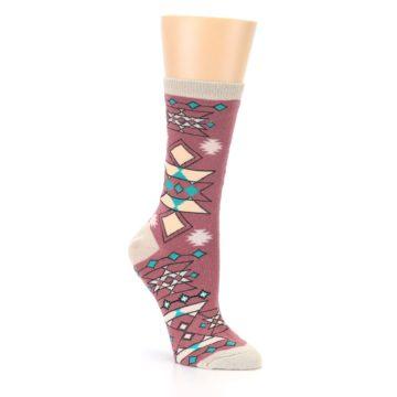 Image of Dusty Rose Diamonds Pyramid Women's Dress Socks (side-1-27)