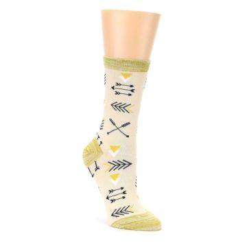 Image of Light Apricot Arrow Pattern Women's Dress Socks (side-1-front-01)