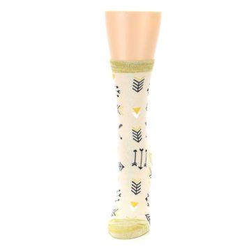 Image of Light Apricot Arrow Pattern Women's Dress Socks (side-2-front-06)