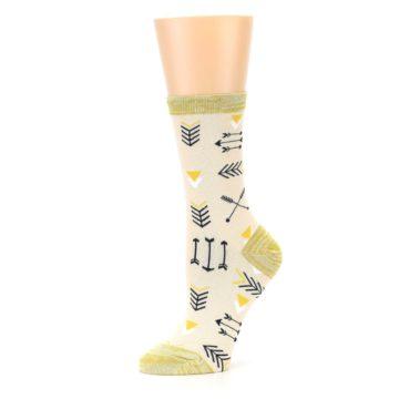 Image of Light Apricot Arrow Pattern Women's Dress Socks (side-2-10)