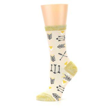Image of Light Apricot Arrow Pattern Women's Dress Socks (side-2-11)