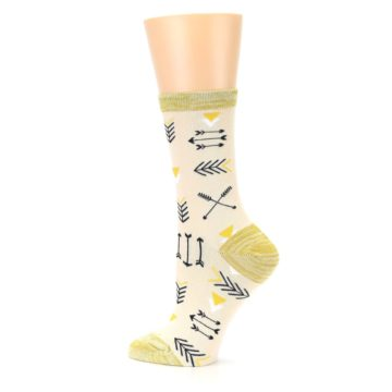Image of Light Apricot Arrow Pattern Women's Dress Socks (side-2-13)