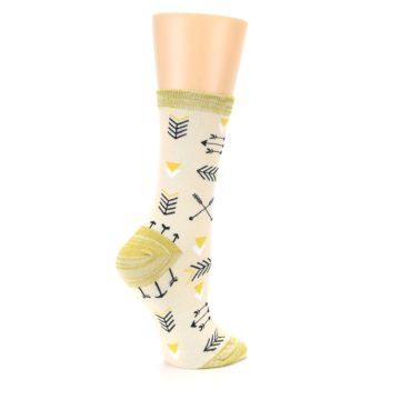 Image of Light Apricot Arrow Pattern Women's Dress Socks (side-1-23)