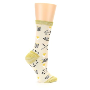 Image of Light Apricot Arrow Pattern Women's Dress Socks (side-1-24)