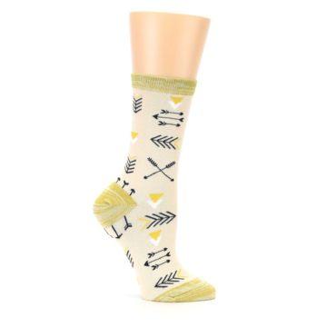 Image of Light Apricot Arrow Pattern Women's Dress Socks (side-1-25)