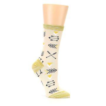 Image of Light Apricot Arrow Pattern Women's Dress Socks (side-1-26)