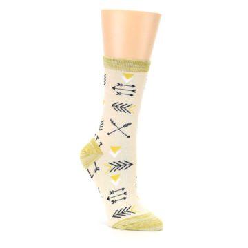 Image of Light Apricot Arrow Pattern Women's Dress Socks (side-1-27)