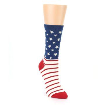 Image of Red Blue American Flag Women's Dress Socks (side-1-front-02)