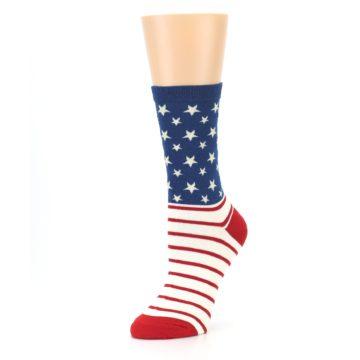 Image of Red Blue American Flag Women's Dress Socks (side-2-09)