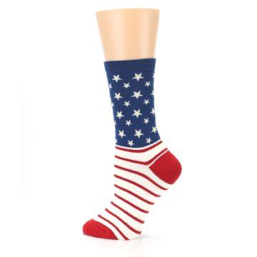 Image of Red Blue American Flag Women's Dress Socks (side-2-13)