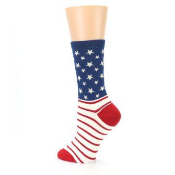 Image of Red Blue American Flag Women's Dress Socks (side-2-back-14)