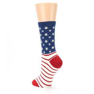 Image of Red Blue American Flag Women's Dress Socks (side-2-back-15)