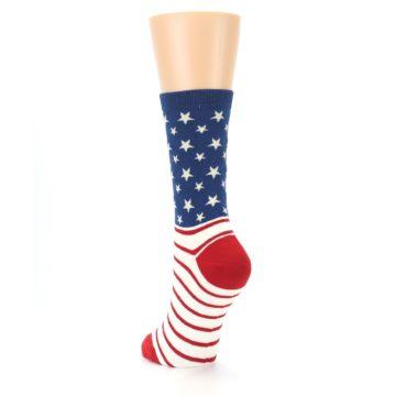 Image of Red Blue American Flag Women's Dress Socks (side-2-back-16)