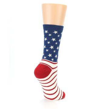 Image of Red Blue American Flag Women's Dress Socks (side-1-back-22)