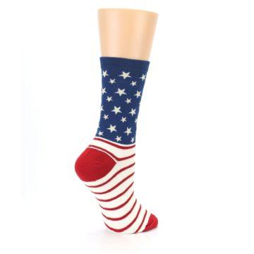 Image of Red Blue American Flag Women's Dress Socks (side-1-23)