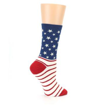 Image of Red Blue American Flag Women's Dress Socks (side-1-24)