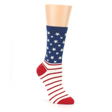 Image of Red Blue American Flag Women's Dress Socks (side-1-27)